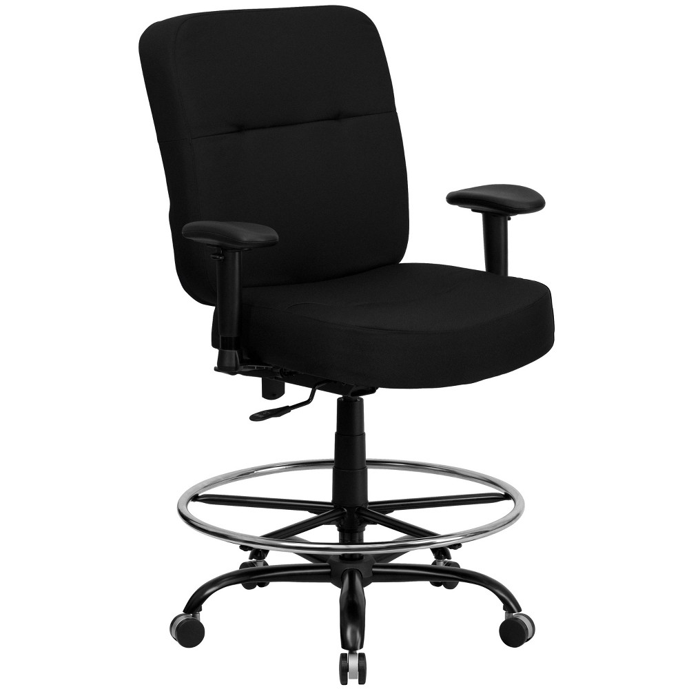 Hercules Series 400 lb. Capacity Big & Tall Drafting Chair Extra Wide Seat Black - Flash Furniture