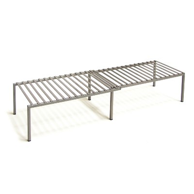 Seville Classics Iron Slat Expandable Kitchen Counter and Cabinet Shelf, Satin Pewter