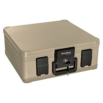 SureSeal By FireKing® Fire and Waterproof Chest, 0.27 ft3, 15-9/10w x 12-2/5d x 6-1/2h, Taupe