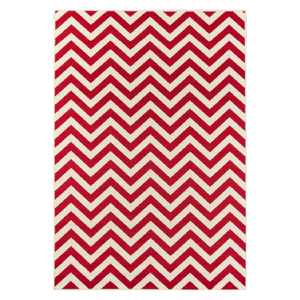 Chevron Loomed Accent Rug Red