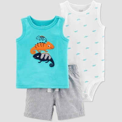 Baby Boys' 3pc Chameleon Embroided Top and Bottom Set - Just One You® made by carter's Teal/White/Gray 6M