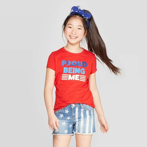 Girls' Short Sleeve Proud To Be Me Graphic T-Shirt - Cat & Jack™ Red - image 1 of 3