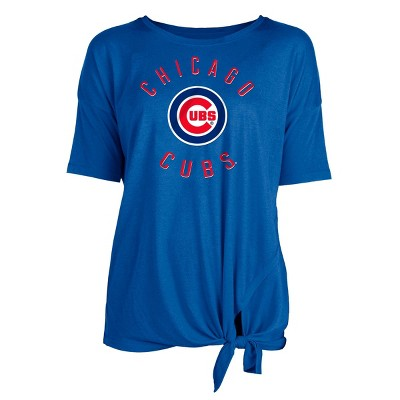 MLB Chicago Cubs Women's Poly Rayon Front Knot T-Shirt