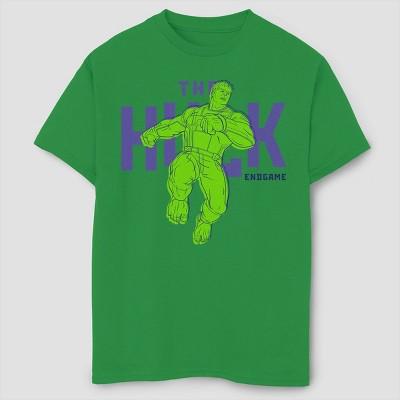 Boys' Marvel Text Pop Hulk Short Sleeve T-Shirt- Green
