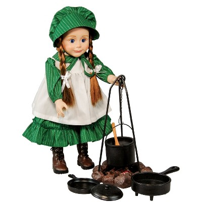 """The Queen's Treasures Little House on the Prairie 18"""" Doll Accessory Camp Cooking Set"""