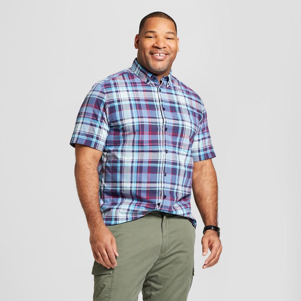 Men's Big & Tall Short Sleeve Soft Wash Standard Fit Button-Down Shirt - Goodfellow & Co Bicycle Blue 3XB