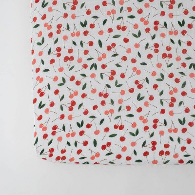 Red Rover Cotton Muslin Crib Sheets - Cherries