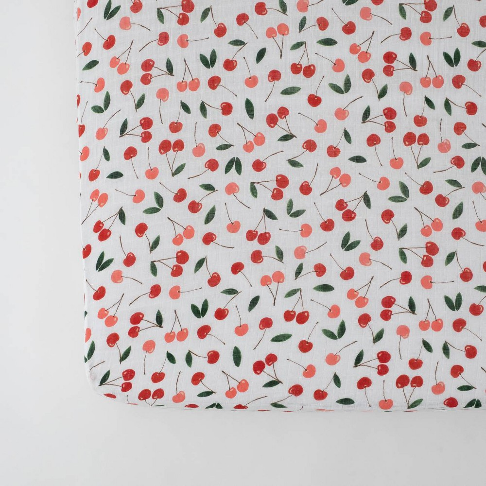 Image of Red Rover Cotton Muslin Crib Sheets - Cherries