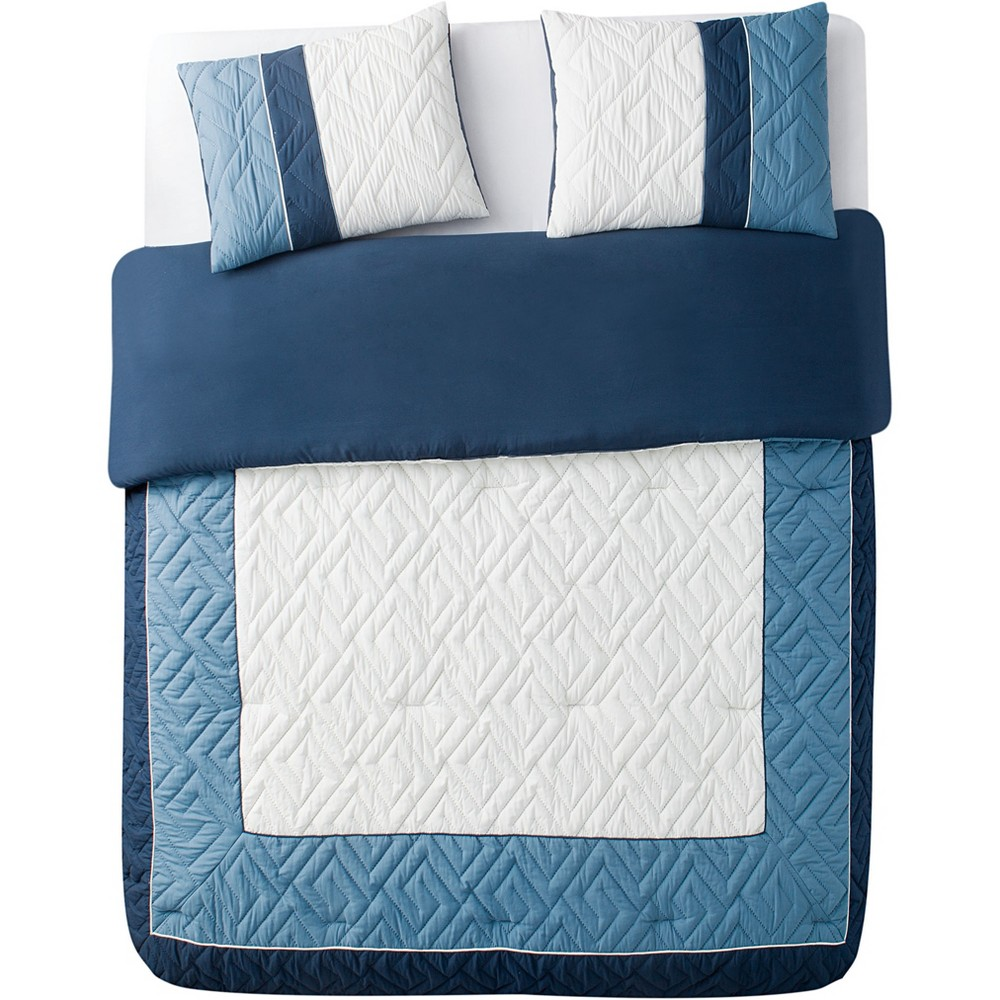3pc King Tristian Embossed Comforter Set Blue - Vcny Home