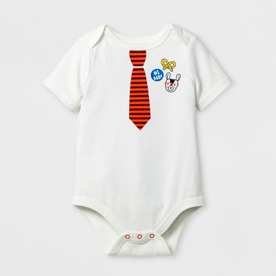 Baby Boys' Short Sleeve Tie Bodysuit - Cat & Jack™ Sour Cream 0-3 M