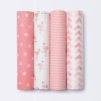 Flannel Baby Blankets Flamingos - Cloud Island™ Pink 4pk