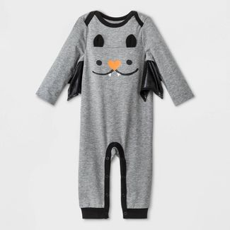 Baby Boys Halloween Long Sleeve Romper - Cat & Jack™ Heather Gray Newborn