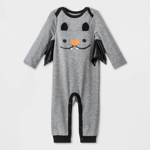 Baby Boys' Halloween Long Sleeve Romper - Cat & Jack™ Heather Gray - image 1 of 1