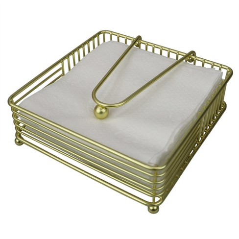 Home Basics Halo Steel Napkin Holder with Weighted Pivoted Arm, Gold - image 1 of 4