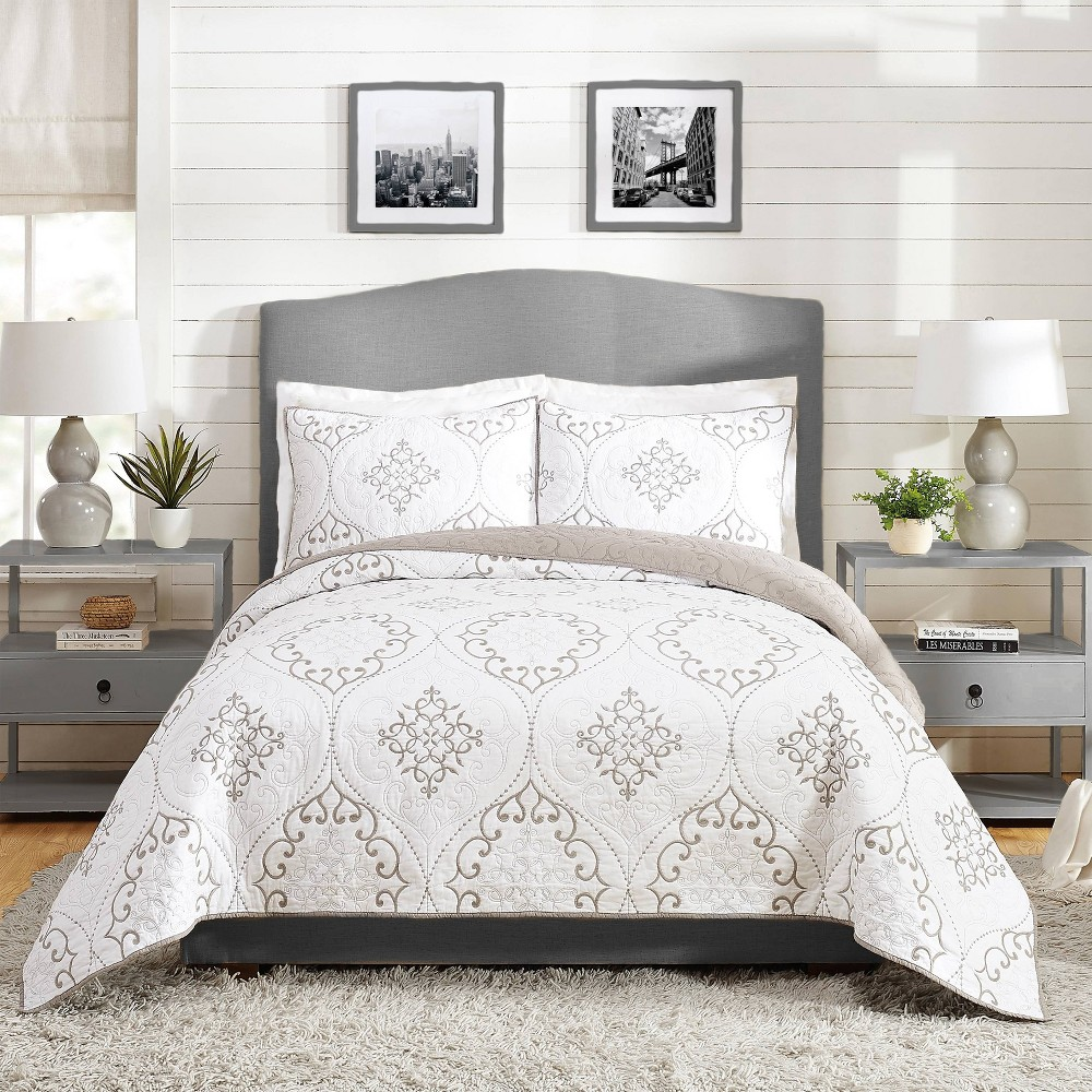 Image of Full/Queen 3pc Chambers Quilt Set Gray - Modern Heirloom