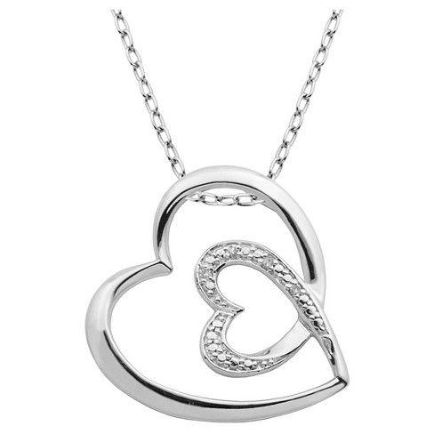 "Sterling Silver Diamond Accent Double Heart Pendant Necklace with 18"" Chain - image 1 of 1"