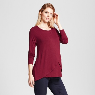 Maternity Long Sleeve Cross-Panel Nursing Top - Isabel Maternity™ by Ingrid & Isabel® Boysenberry Red S