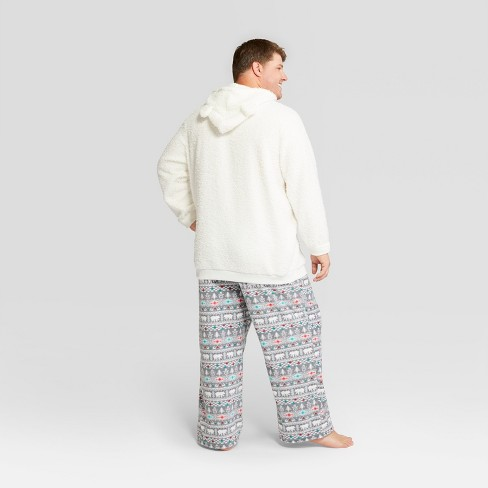 mens big tall holiday fuzzy bear fair isle pajama set wondershop white target