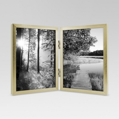Metal Hinged Double Image Frame 5x7 - Gold - Project 62™