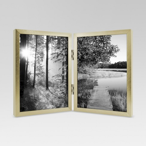 Metal Hinged Double Image Frame 5x7 Gold Project 62 Target