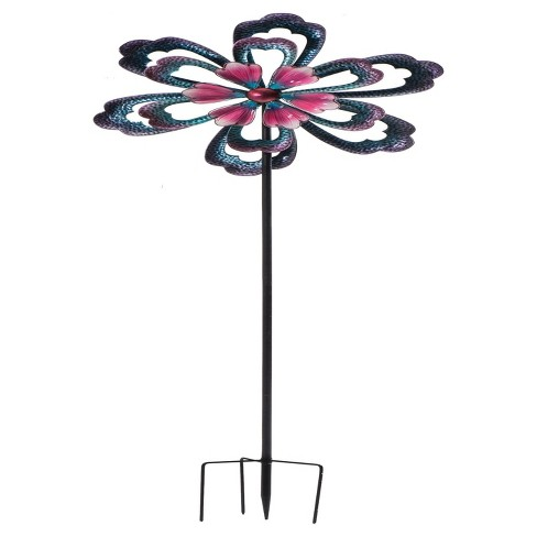 "31.9""x7.9""x100' Metal Flower Spinner Garden Stake - Multi Color - Sunjoy - image 1 of 5"