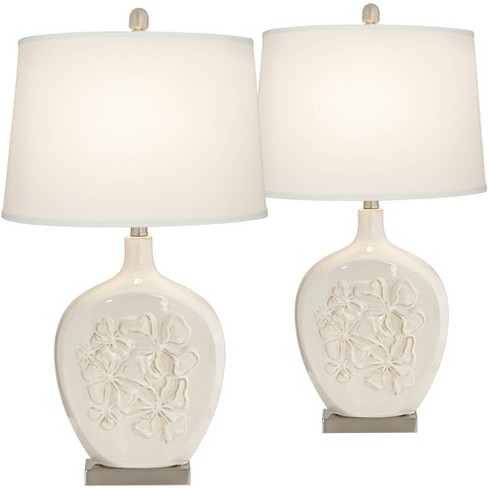 Regency Hill Country Cottage Table Lamps Set Of 2 Ceramic Ivory White Oval Shade For Living Room Family Bedroom Bedside Nightstand Target