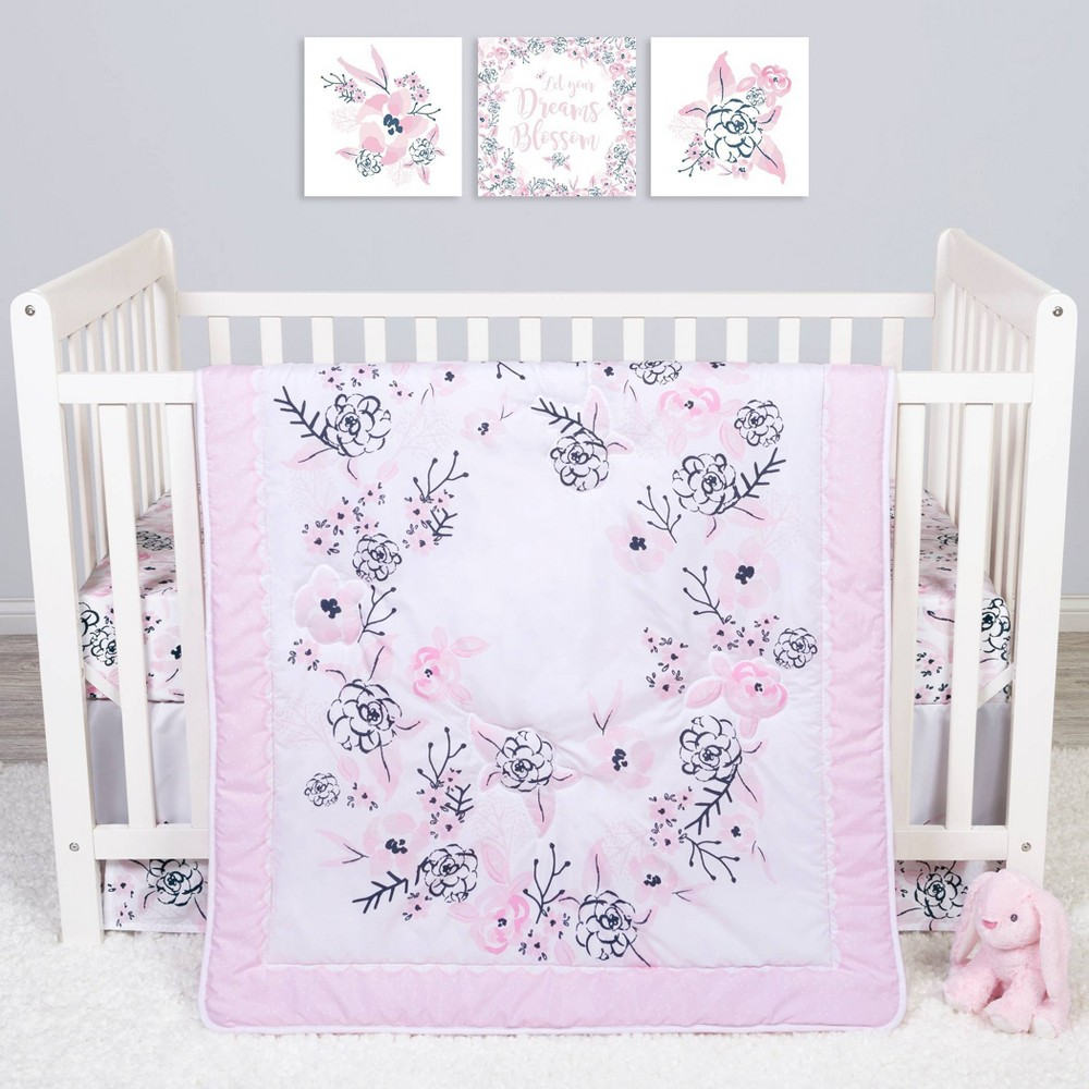 Image of Sammy and Lou Simply Floral Crib Bedding Set - 4pc