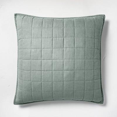 Euro Heavyweight Linen Blend Quilt Pillow Sham Sage Green - Casaluna™
