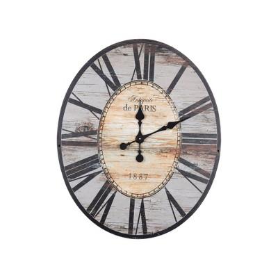 "29"" Oval Distressed Wood Wall Clock Gray - 3R Studios"