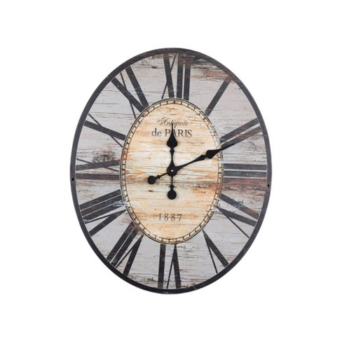 29 Oval Distressed Wood Wall Clock Gray Creative Co Op Target