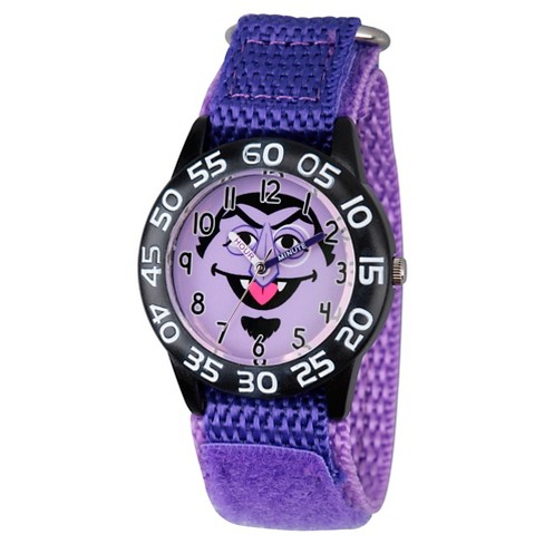 Boys' Sesame Street Black Plastic Time Teacher Watch - Purple - image 1 of 2