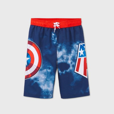 Boys' Marvel Captain America Swim Trunks - Red