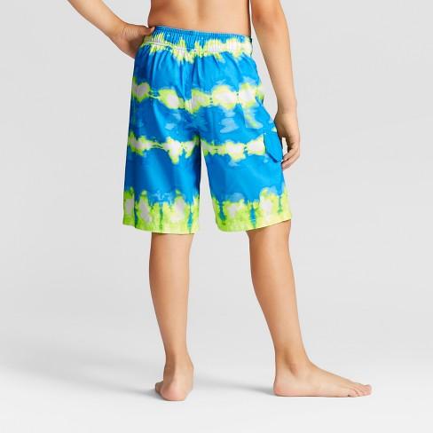 475207aa61 Boys' Twist Dye Yellow Dash Swim Trunks - Cat & Jack™ Blue : Target