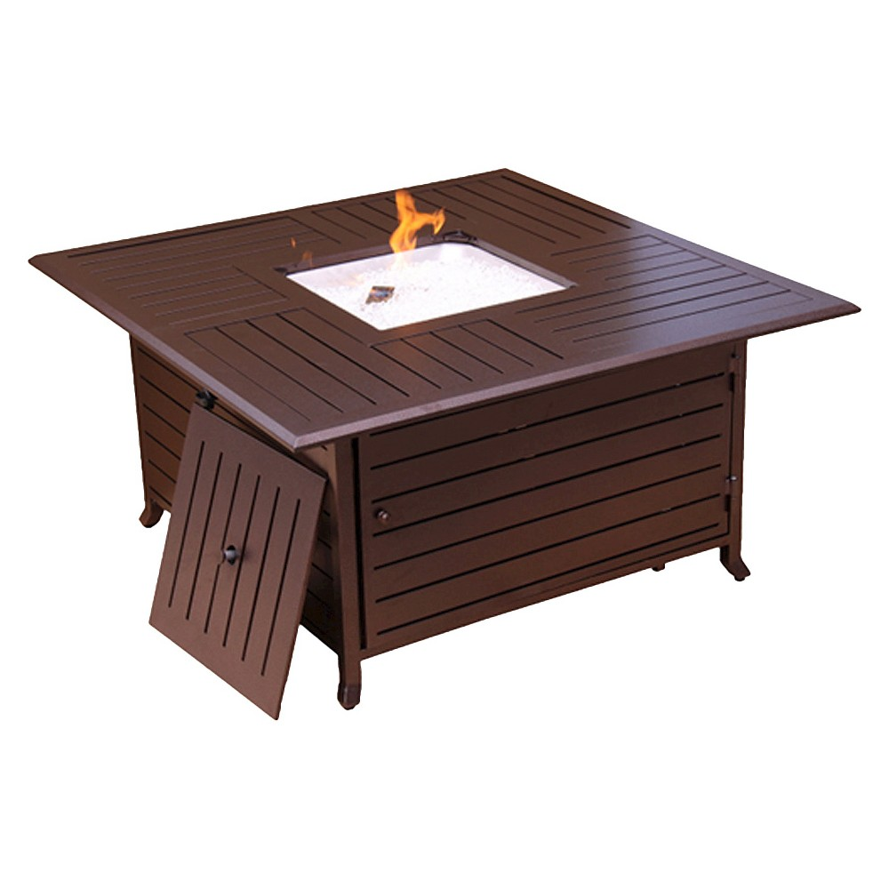 Image of Square Slatted Aluminum Firepit - Bronze