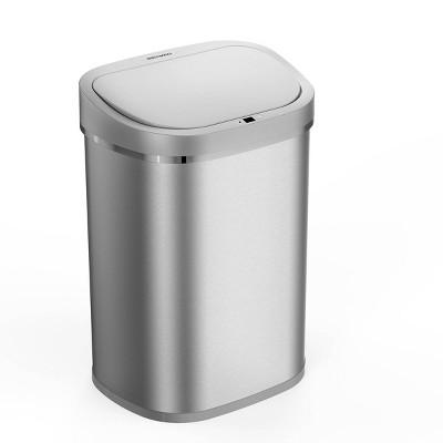 Nine Stars 21gal Motion Sensor Oval Shape Stainless Steel Trash Can Silver