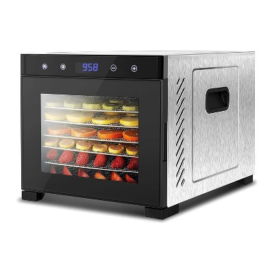 NutriChef Electric Countertop 600 Watts Multi Tier Food Dehydrator Machine with 6 Stainless Steel Trays, Digital Timer, &Temperature Control, Silver