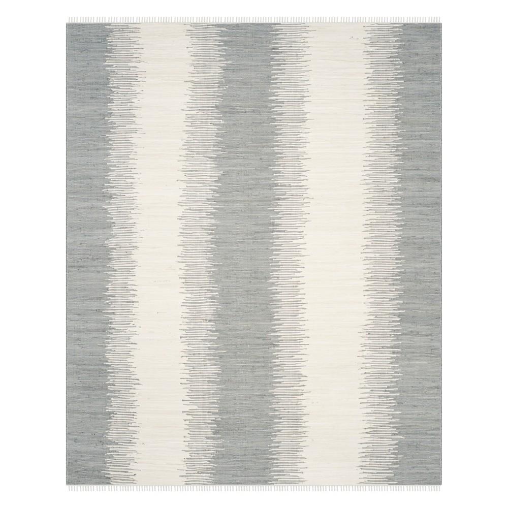 Stripe Woven Area Rug Gray