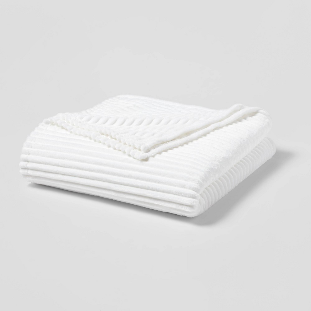 Twin Twin Xl Ribbed Plush Bed Blanket White Room Essentials 8482