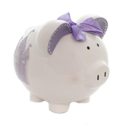 "Child To Cherish 7.5"" Lavendar Fairytail Piggy Bank Castle Save - image 1 of 4"