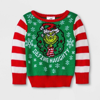 Baby The Grinch 'Define Naughty' Pullover Sweater - Green