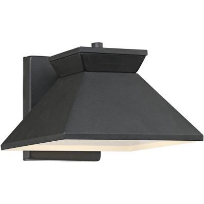 "John Timberland Modern Outdoor Wall Light Fixture LED Black 6 1/4"" Metal Shade for Exterior House Porch Patio Deck"