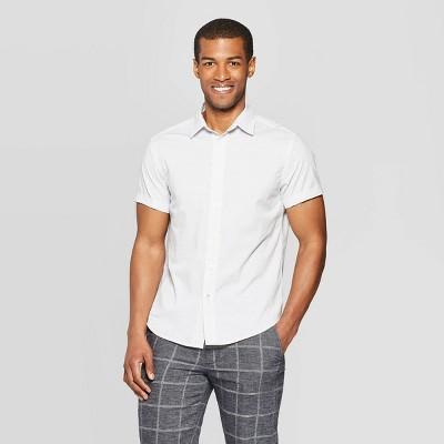 Men's Jacquard Short Sleeve Novelty Button-Down Shirt - Goodfellow & Co™ Gray M