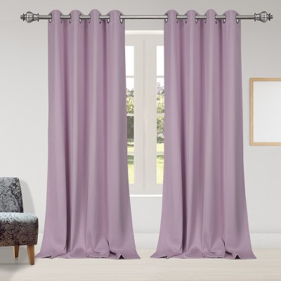 2 Pcs 52 x 95 Inch Solid Blockout Thermal Insulated Grommet Curtain Panels Purple - PiccoCasa