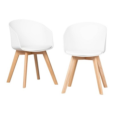 Set of 2 Flam Dining Chairs with Wooden Legs - South Shore