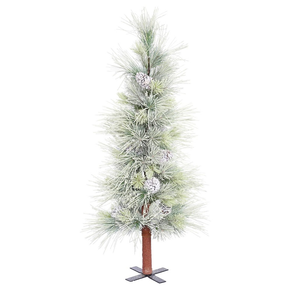 4ft Unlit Artificial Christmas Tree Slim Norway Alpine Frosted, Green