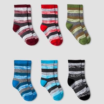 Boys' Spacedye Striped Crew Socks 6pk Cat & Jack™ Heather Grey 12-24M