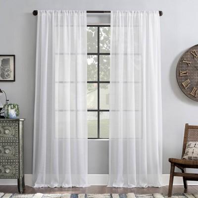 "95""x52"" Slub Textured Linen Blend Light Filtering Curtain Panel White - Archaeo"