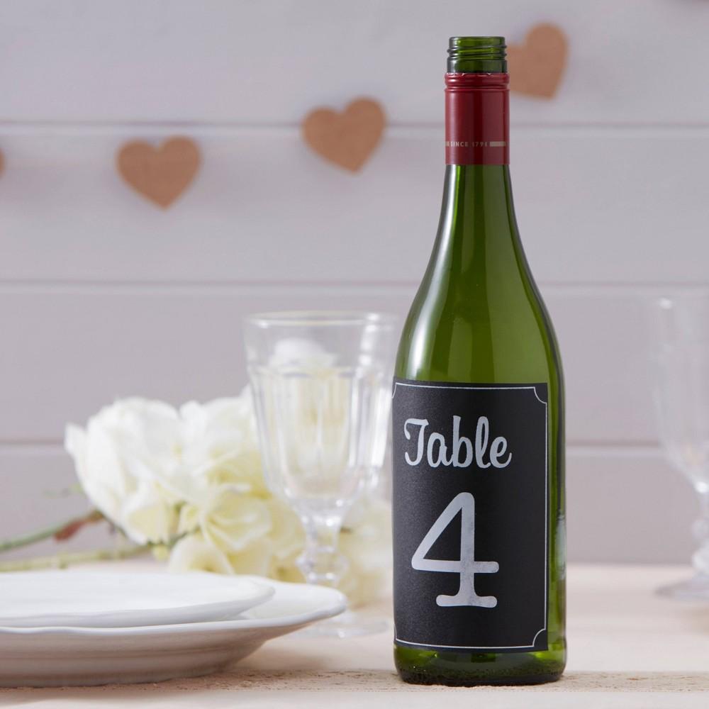 "Image of """"""1-12"""" Vintage Affair Chalkboard Bottle Sticker Table Numbers"""