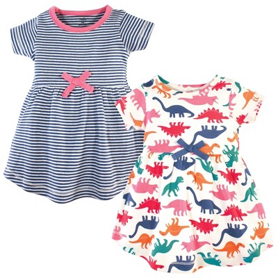 Touched by Nature Baby and Toddler Girl Organic Cotton Short-Sleeve Dresses 2pk, Dinosaurs