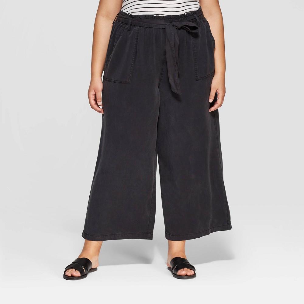 Women's Plus Size Mid-Rise Wide Leg Tie Waist Cropped Pants - Universal Thread Gray 1X